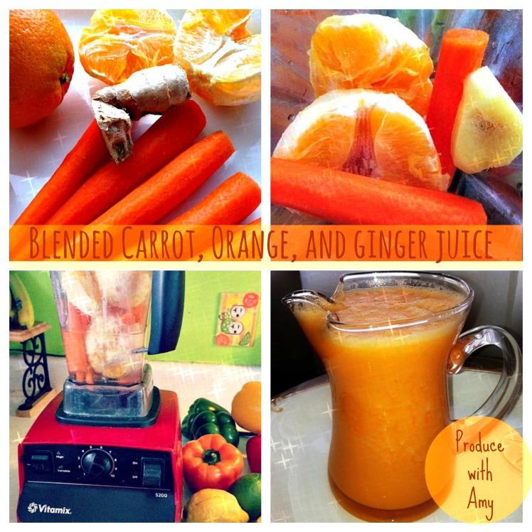 Blended Carrot, Orange, and Ginger Juice