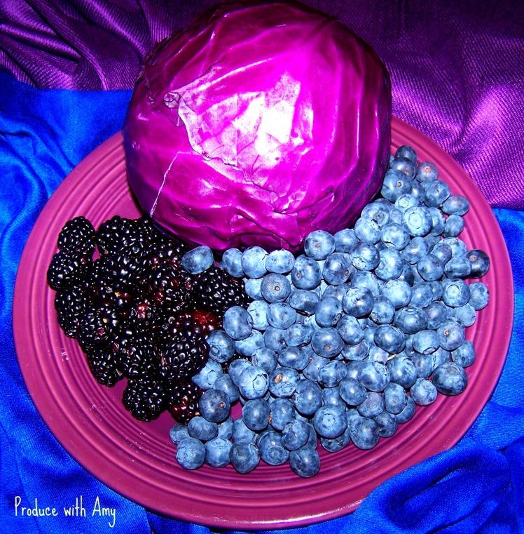Purple cabbage, blackberries, and blueberries