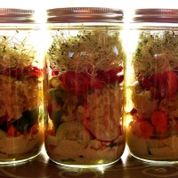 Tangy Jarred Salads with Sauerkraut, Hot Peppers, Pickles, & Mustard Dressing