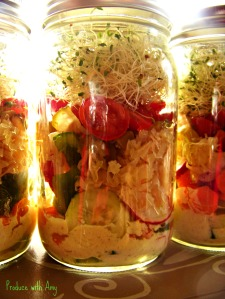 Tangy Jarred Salads with Sauerkraut, Peppers, and Pickles by Produce with Amy