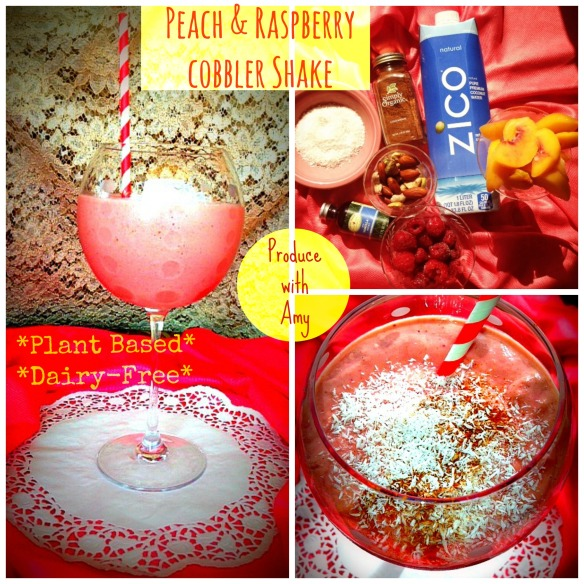 Guilt-Free Peach & Raspberry Cobbler Shake by Produce with Amy