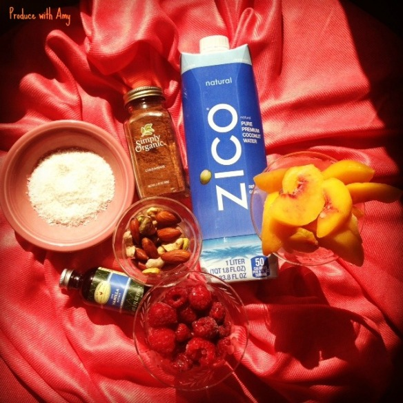 Ingredients for Peach & Raspberry Cobbler Shake by Produce with Amy