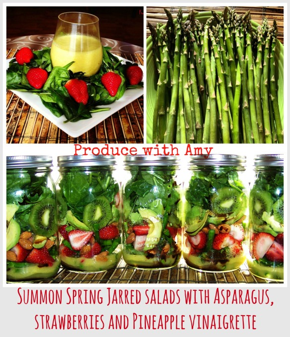 Summon Spring Jarred Salad with Asparagus, Strawberries, and Pineapple Vinaigrette