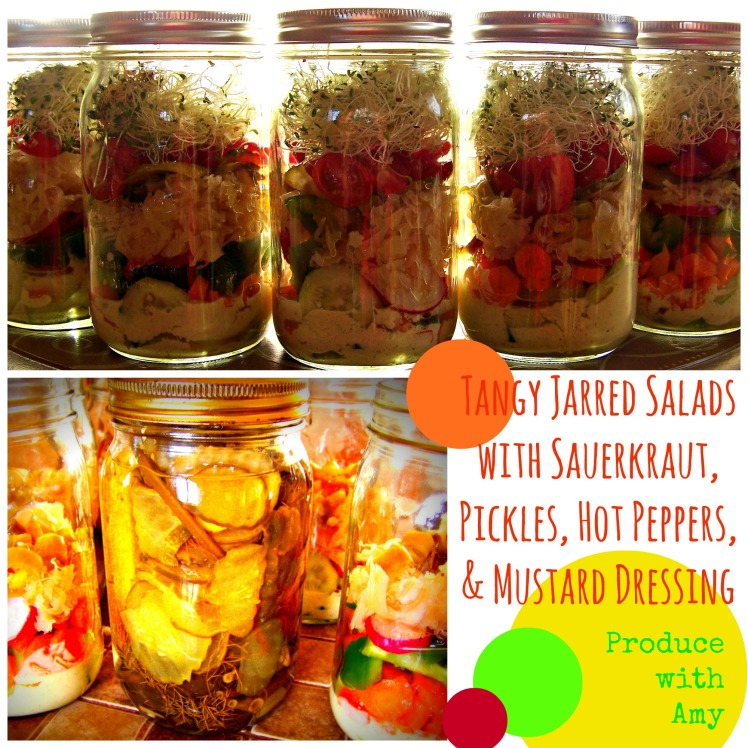 Tangy Jarred Salads with Sauerkraut, Pickles, Hot Peppers, and Mustard by Produce with Amy