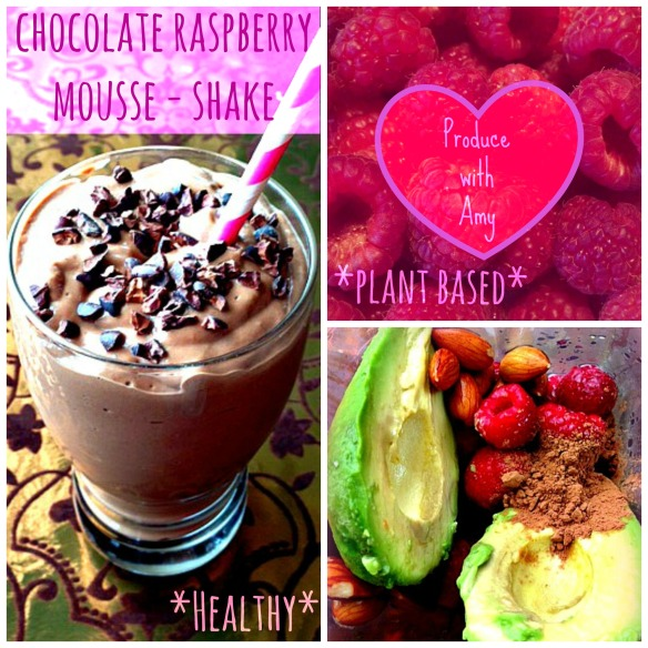 Chocolate Raspberry Mousse-Shake with Avocado by Produce with Amy