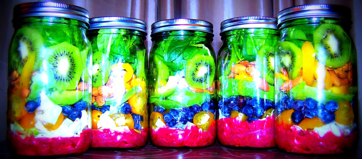 Paradise in a Jar Salad with Blueberry Lemon Dressing