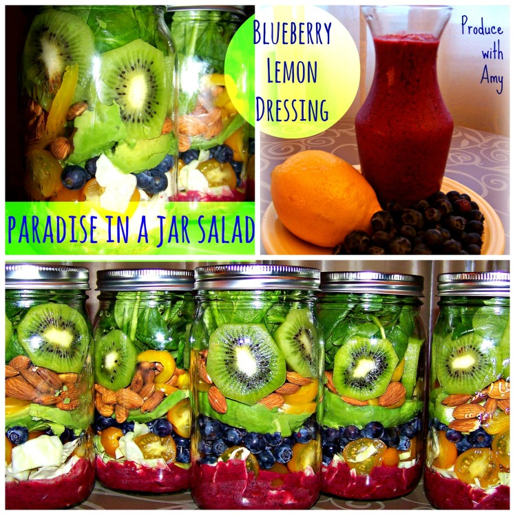 Paradise in a Jar Salad with Blueberry Lemon Dressing by Produce with Amy