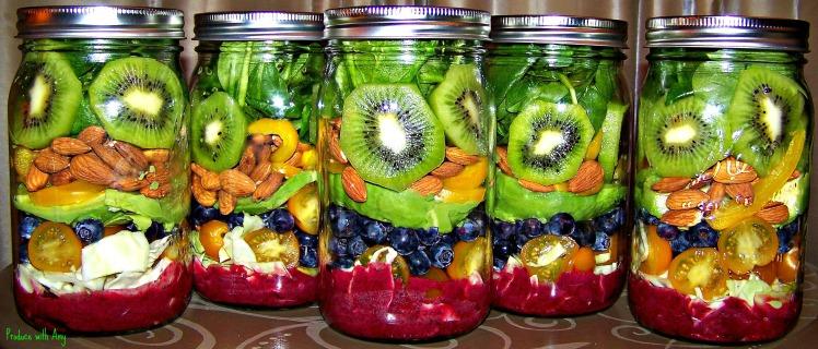 Paradise in Jar Salad with Blueberry Lemon Dressing