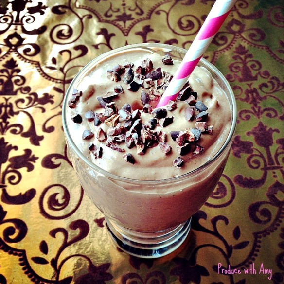 Plant-Based Chocolate Raspberry Shake with Avocado by Produce with Amy