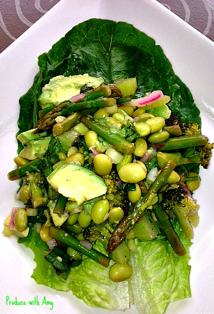 Verdant Salad with Spring Green Vegetables Lettuce Wrap by Produce with Amy
