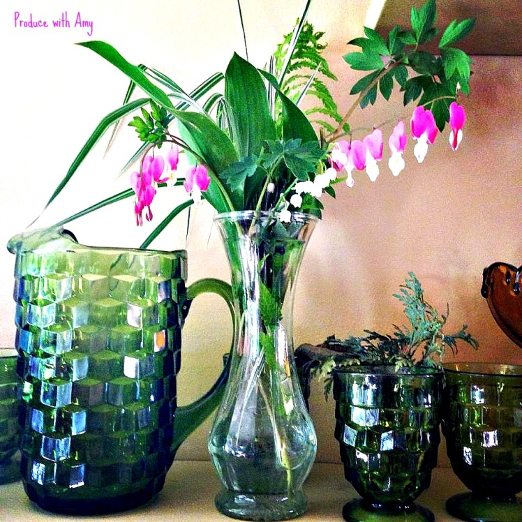 My first flowers from my garden this season: Bleeding Hearts and Lily of the Valley.