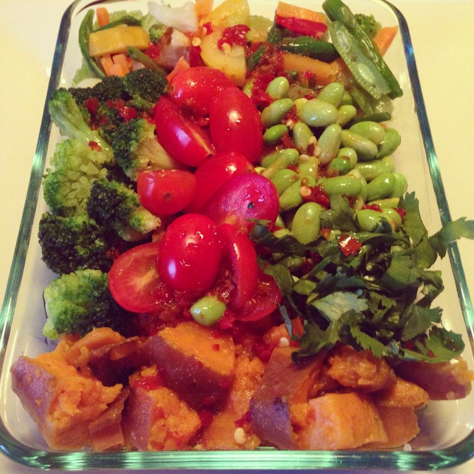 ... mixed vegetables, broccoli, sweet potatoes, and chili lime dressing