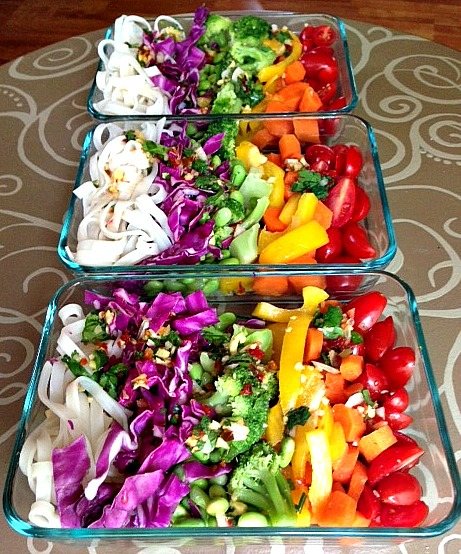 Spectrum Salad in Pyrex Containers