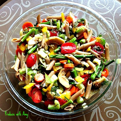 Vegetable Filled Pasta Salad with Artichoke Hearts, Capers, and Dill by Produce with Amy