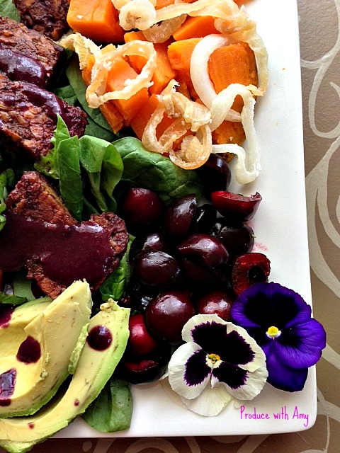 Cherry BBQ Salad Plate by Produce with Amy