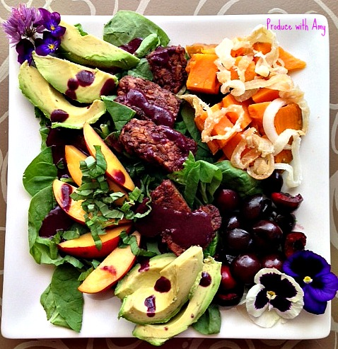 Cherry BBQ Salad with Sweet Potatoes, Avocado, and Nectarines