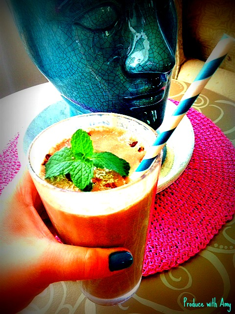 Chocolate & Mint Shake with Coconut by Produce with Amy