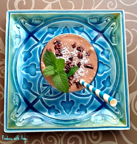 Chocolate Mint Shake with Coconut by Produce with Amy