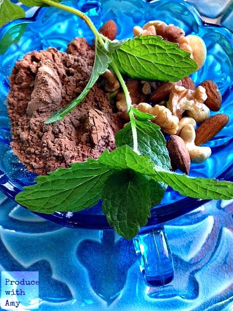 Cocoa Powder, Raw Nuts, & Mint