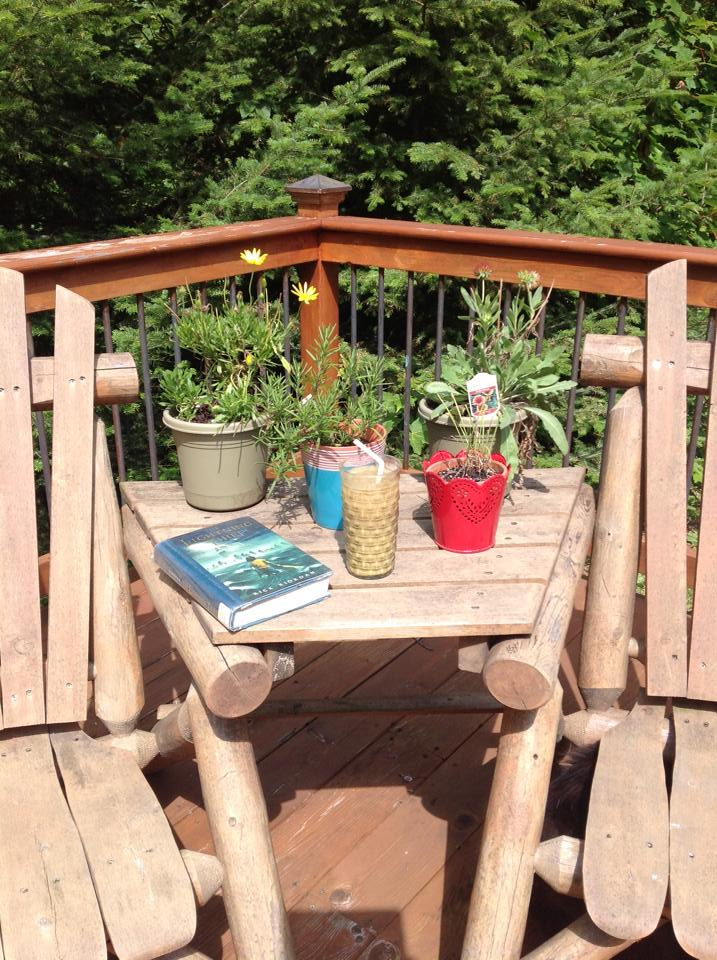 Heather had her favorite green smoothie today for lunch. Here is a photo that she sent me. What a relaxing spot to enjoy a green smoothie and read in the sunshine.