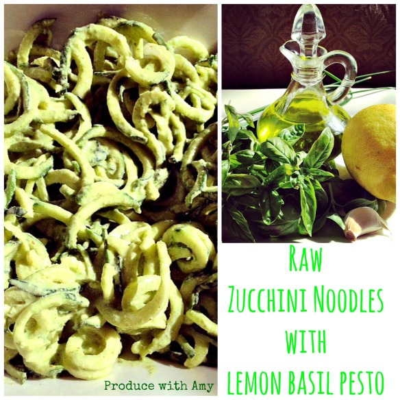 Raw Zucchini Noodles with Lemon Basil Pesto by Produce with Amy