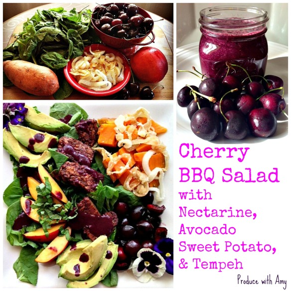 Salad with Cherry BBQ Dressing by Produce with Amy