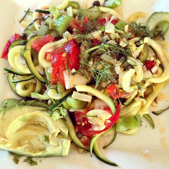 Zucchini Noodles, with Lemon,  Capers, Tomato, and Dill
