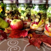 Fall Fusion Jar Salads with Brussels Sprouts, Apple, Walnuts, & Pear Dressing