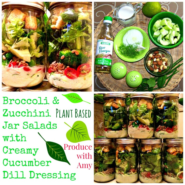 Broccoli & Zucchini Jar Salads with Creamy Cucumber Dill Dressing by Produce with Amy