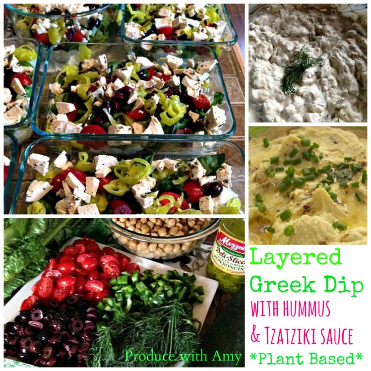 Layered Greek Dip with Hummus & Tzatziki by Produce with Amy