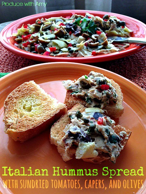 Italian Hummus Spread with Sundried Tomatoes, Capers, and Olives by Produce with Amy