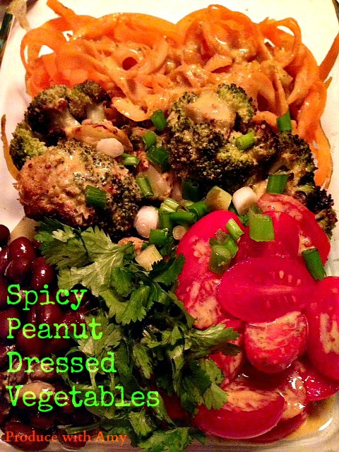 Spicy Peanut Dressed Vegetables by Produce with Amy