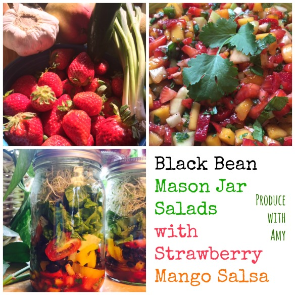Black Bean Mason Jar Salads with Strawberry Mango Salsa by Produce with Amy