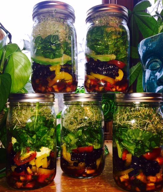 Black Bean Jar Salads with Strawberry Mango Salsa