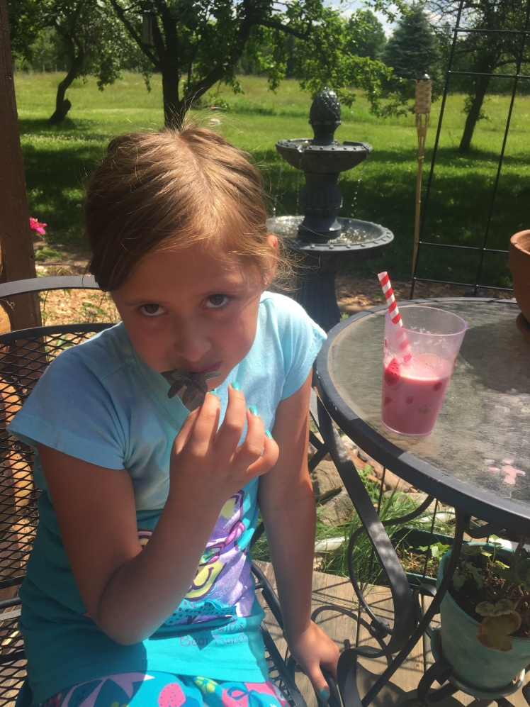 Avalon Trying the Chocolate Mint from our Herb Garden