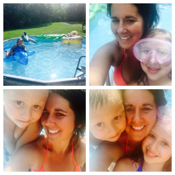 We got the kids a pool for their birthday. Summer is the time for spontaneous, make-up free selfies!