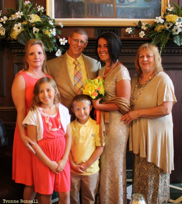Our Wedding Day: John, Avalon, Lukas, and I with my Mom Karen and my best friend Kim.