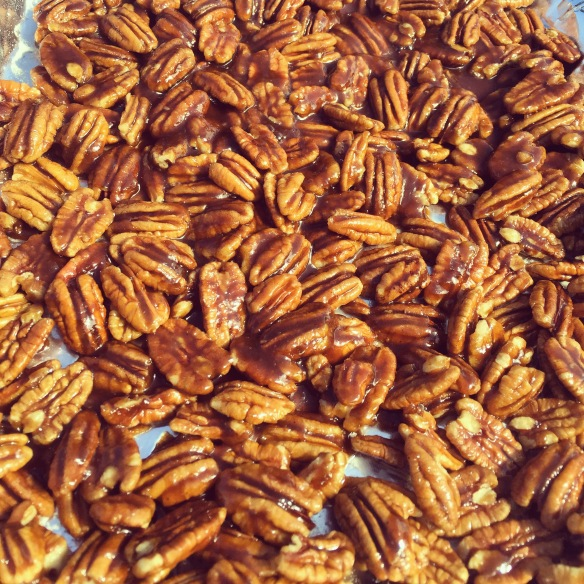 Caramelized pecans are a favorite of Avalon and John. I make huge batches of them and have a difficult time keeping them in the house.