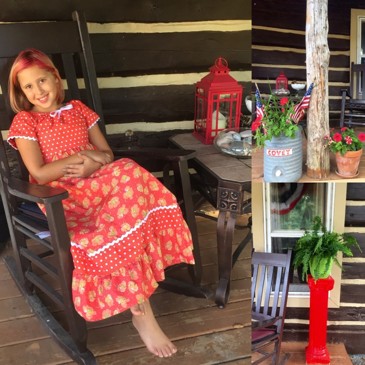 Avalon relaxing on our front porch in the beautiful dress that her Granny Barb made for her.