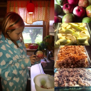 We love to make apple crisp for brunch with apples from our orchard.
