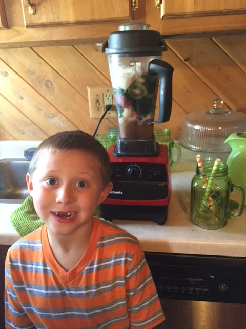 Lukas making his smoothie!