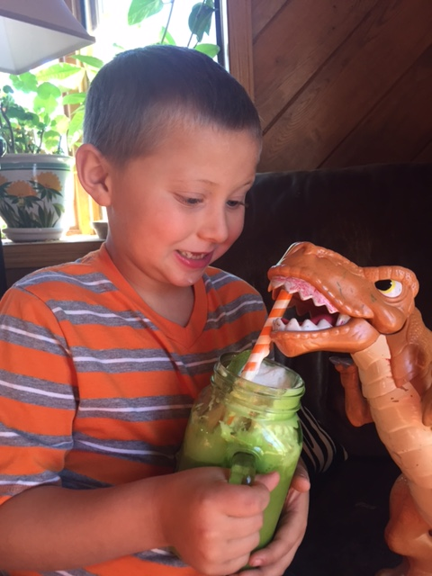 As you can see, Luke's green smoothie is dinosaur approved!