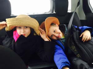 Avalon and Lukas wearing their hats for Spirit Week.