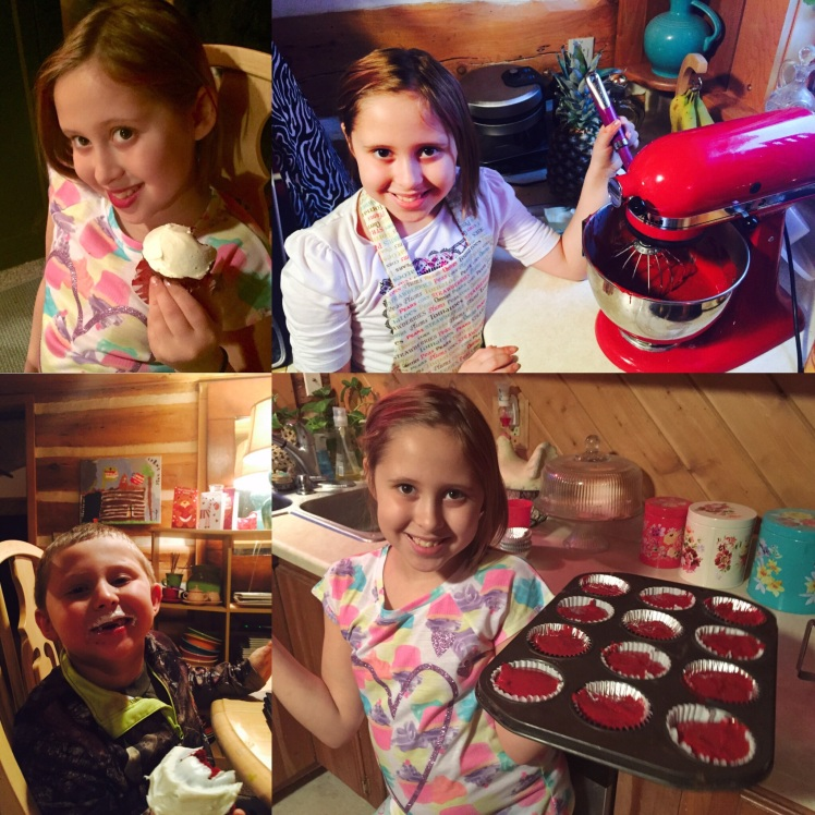 After school on Friday Avalon made red velvet cupcakes with cream cheese frosting. The color nearly made my heart sink - not the healthiest thing to feed my family. Yet, the kids and John loved them. Next time we will experiment with a healthier alternative and share our recipe here!
