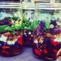 Quadruple Berry Salad with Caramelized Pecans and Raspberry Vinaigrette