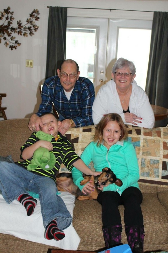 Lukas and Avalon with Granny Barb, Don, and Maddy.