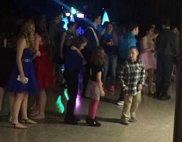 Lukas trying out his slick moves on the dance floor.