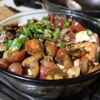 CHICKEN CAPRESE ON A BED OF VEGETABLES