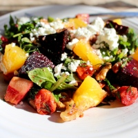 ROASTED ROOT VEGETABLE SALAD WITH BABY KALE, WALNUTS, &  ORANGE DILL DRESSING